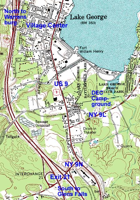 Exit 21 Map, Lake George Village