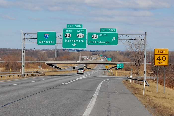 Exit 38 - Plattsburgh Downtown: NY 22, NY 374 to NY 3W