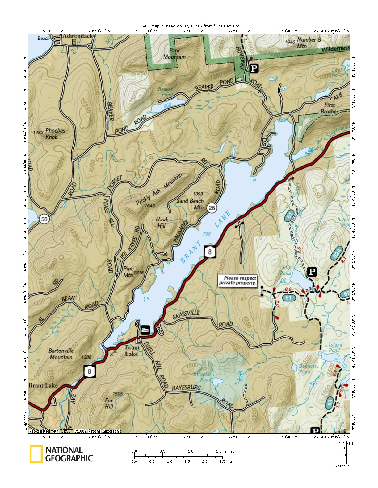Brant Lake Topographic Map