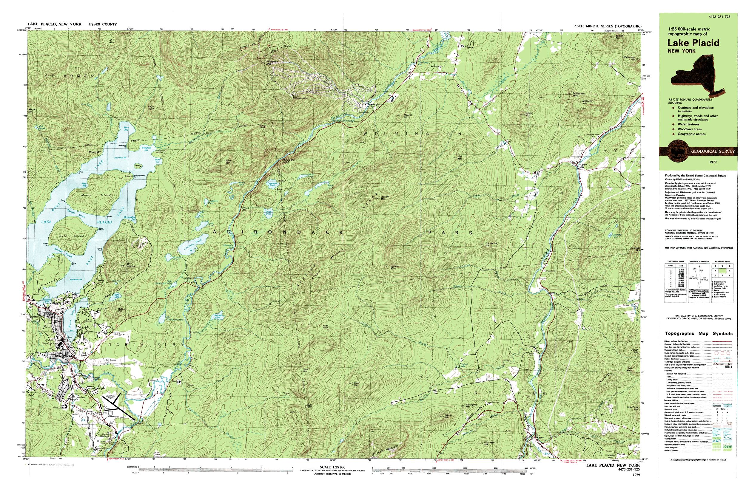 Lake Placid - Wilmington - Whiteface Mt. Topographic Map