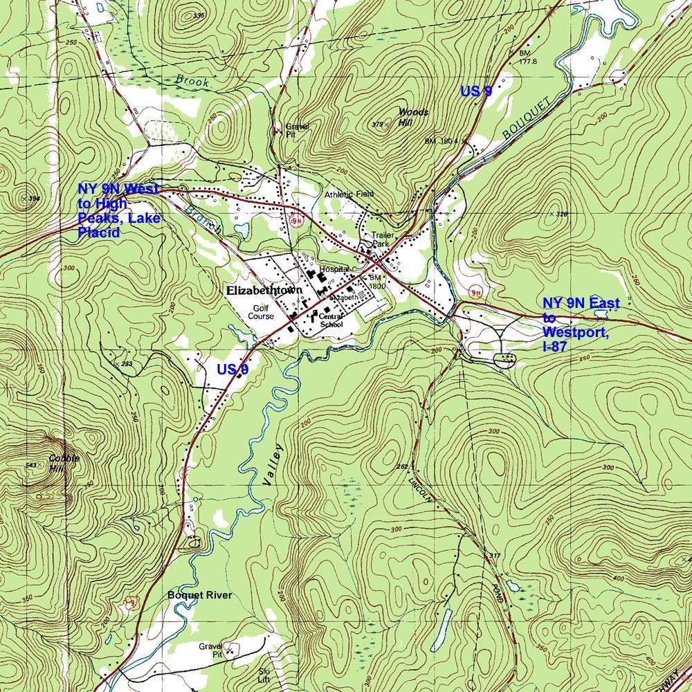 Quebec Topographic Map.Interstate 87 The Adirondack Northway Elizabethtown Topographic Map