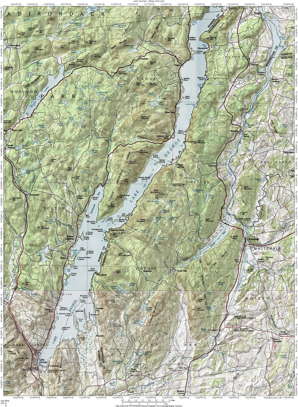 Interstate 87: The Adirondack Northway: Lake George Topographic Map