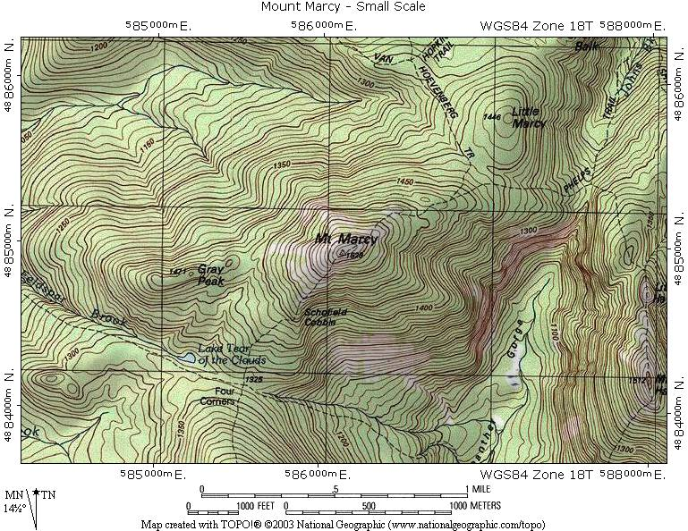 Interstate The Adirondack Northway Mount Marcy Topographic Map - Mt topo maps