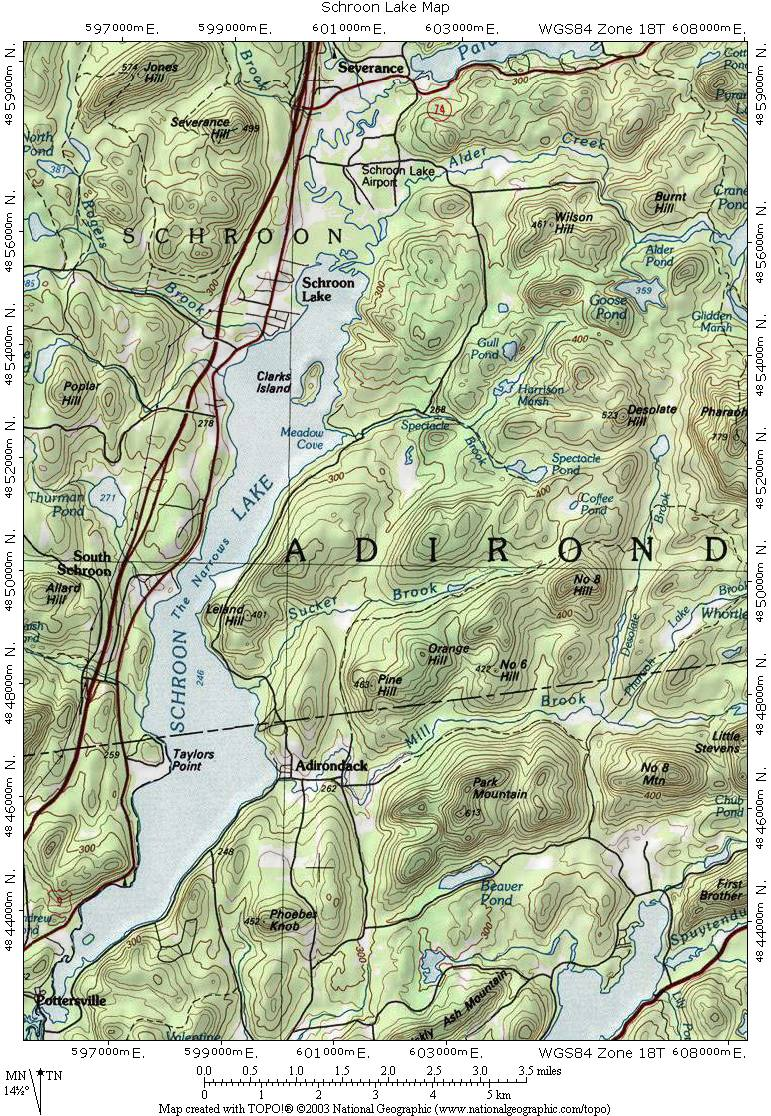 Interstate 87 The Adirondack Northway Schroon Lake Topographic Map